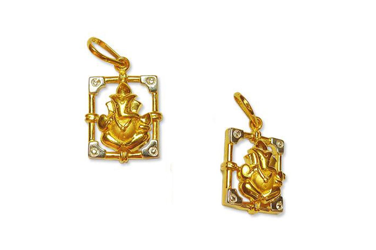 Ganesh Pendant in Gold - Design V