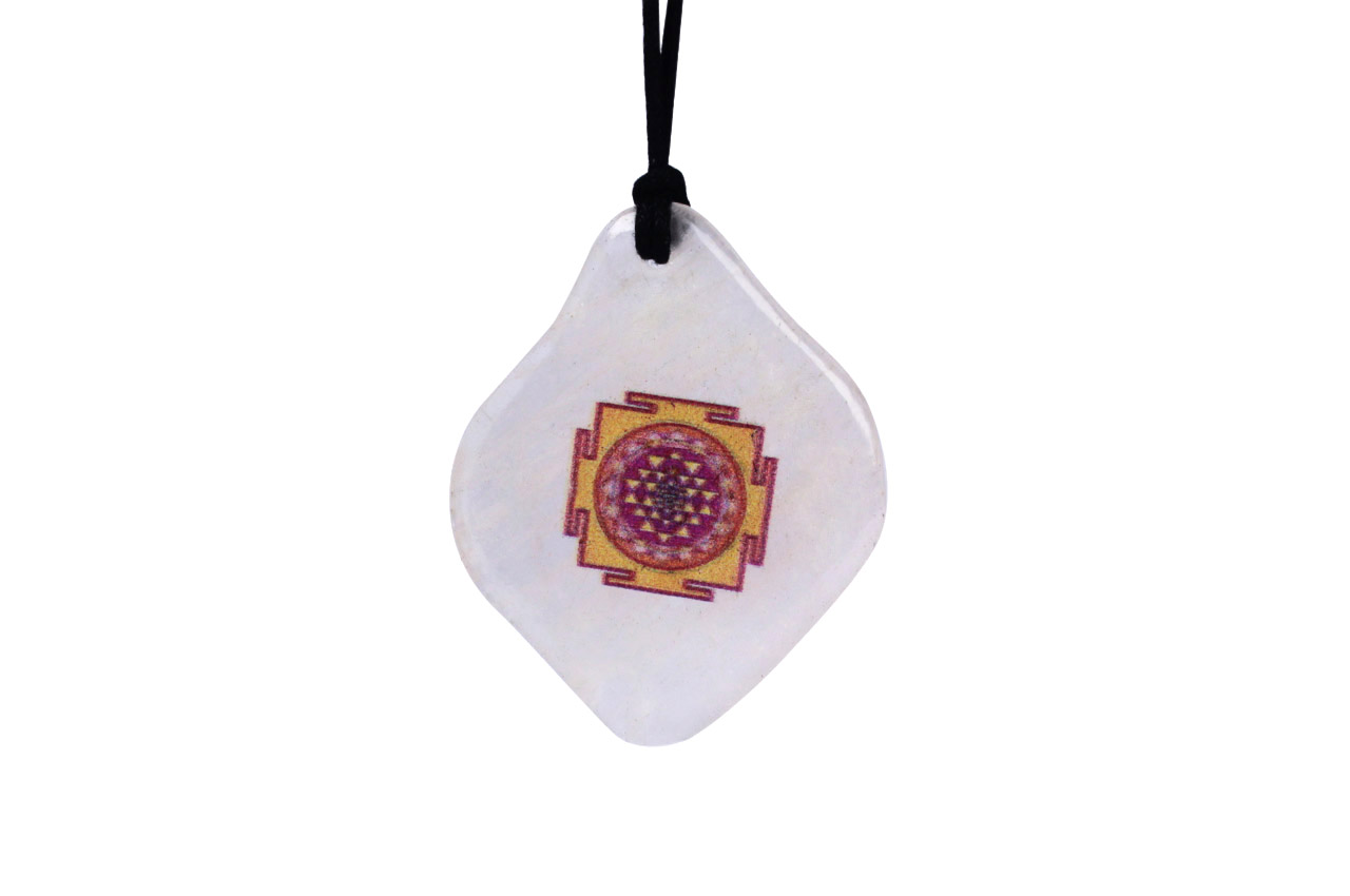 Shree yantra Pendant on White Agate