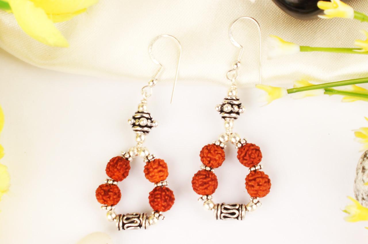 Earrings of Rudraksha beads - design IV