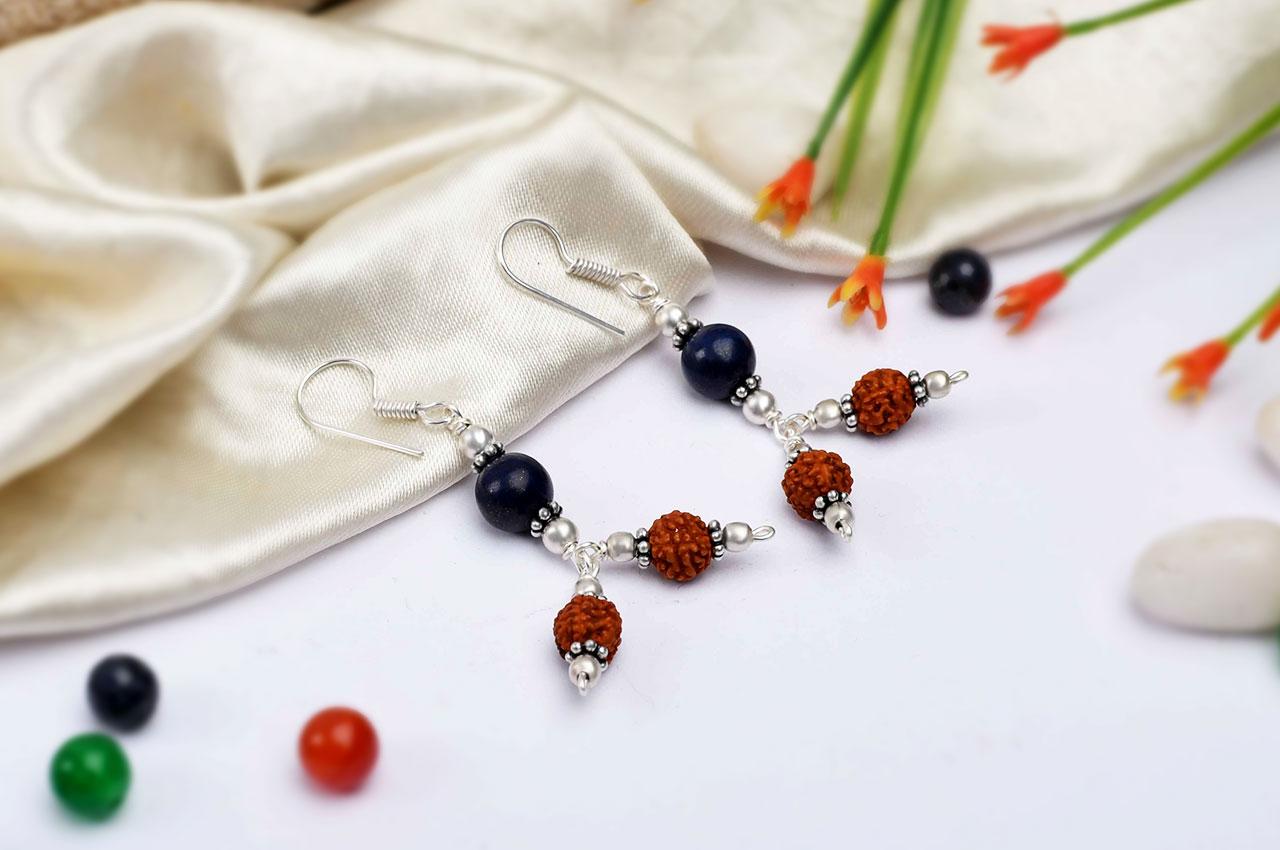 Rudraksha and Lapis Lazuli Earring - I