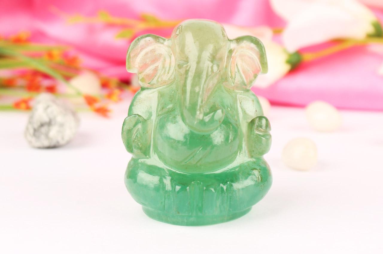 Fluorite Ganesha statue - 170 gms