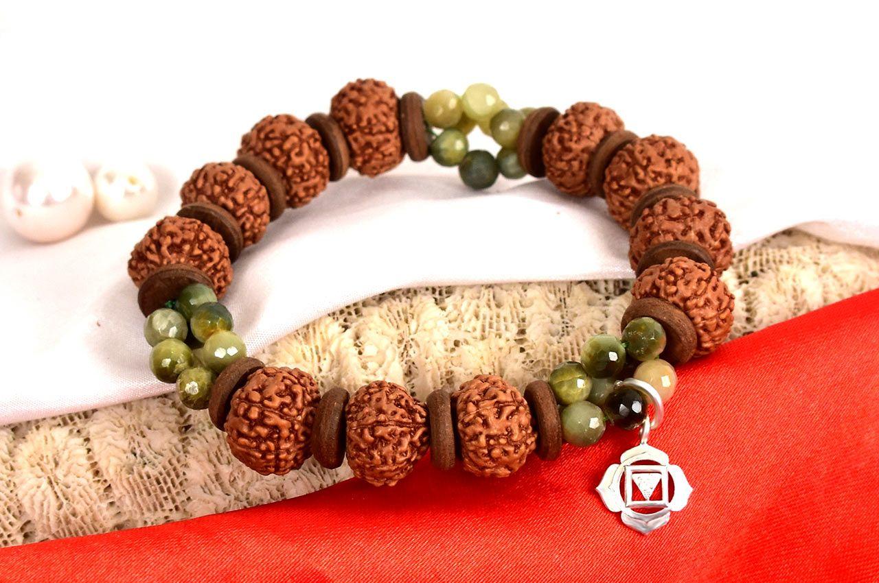 8 Mukhi Rudraksha and Cats Eye Bracelet