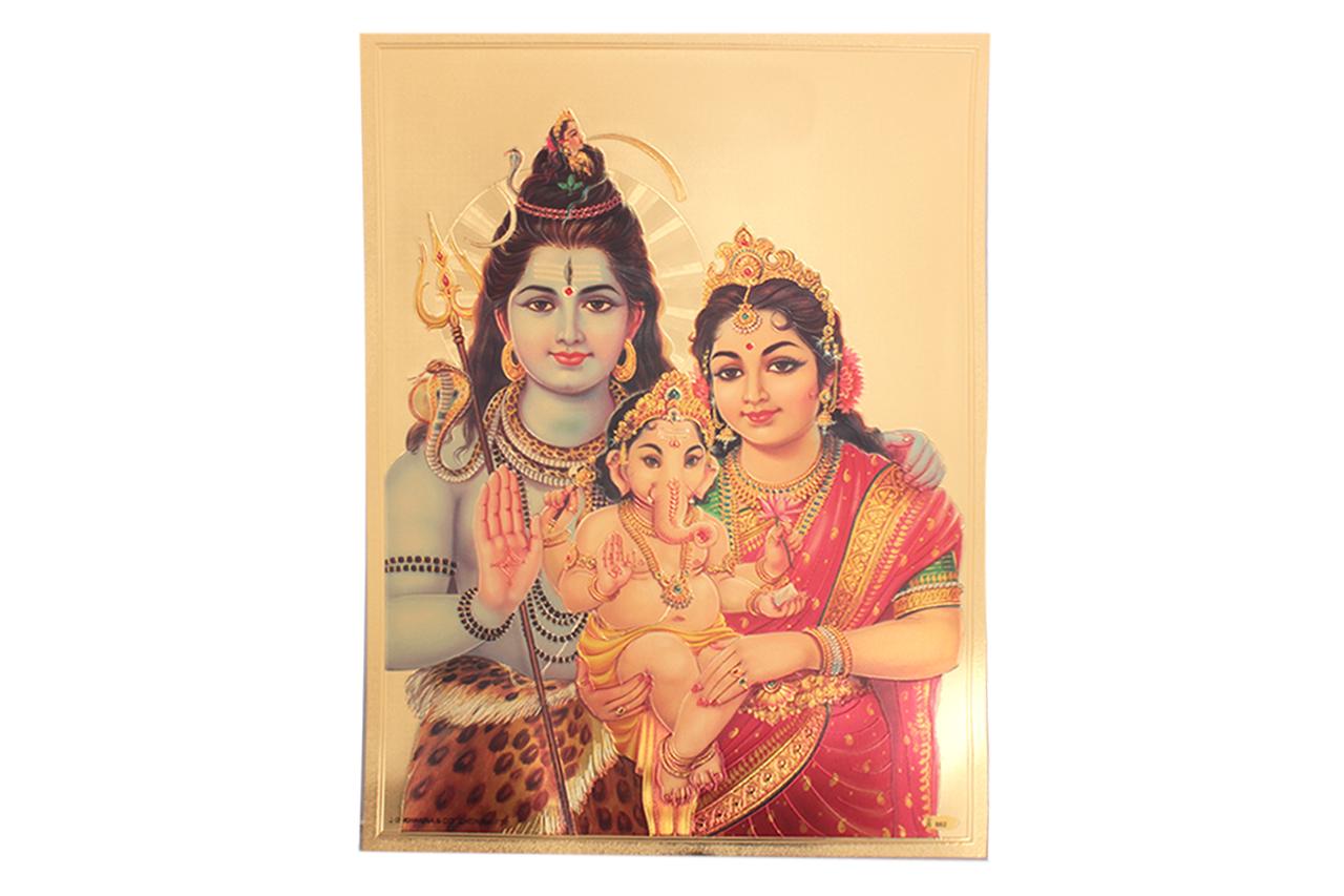 Shiva Parivar Photo in Golden Sheet - Large