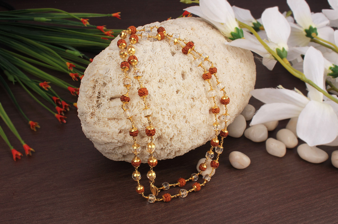 6mm Rudraksha and Crystal Beads in Pure Gold - Design I