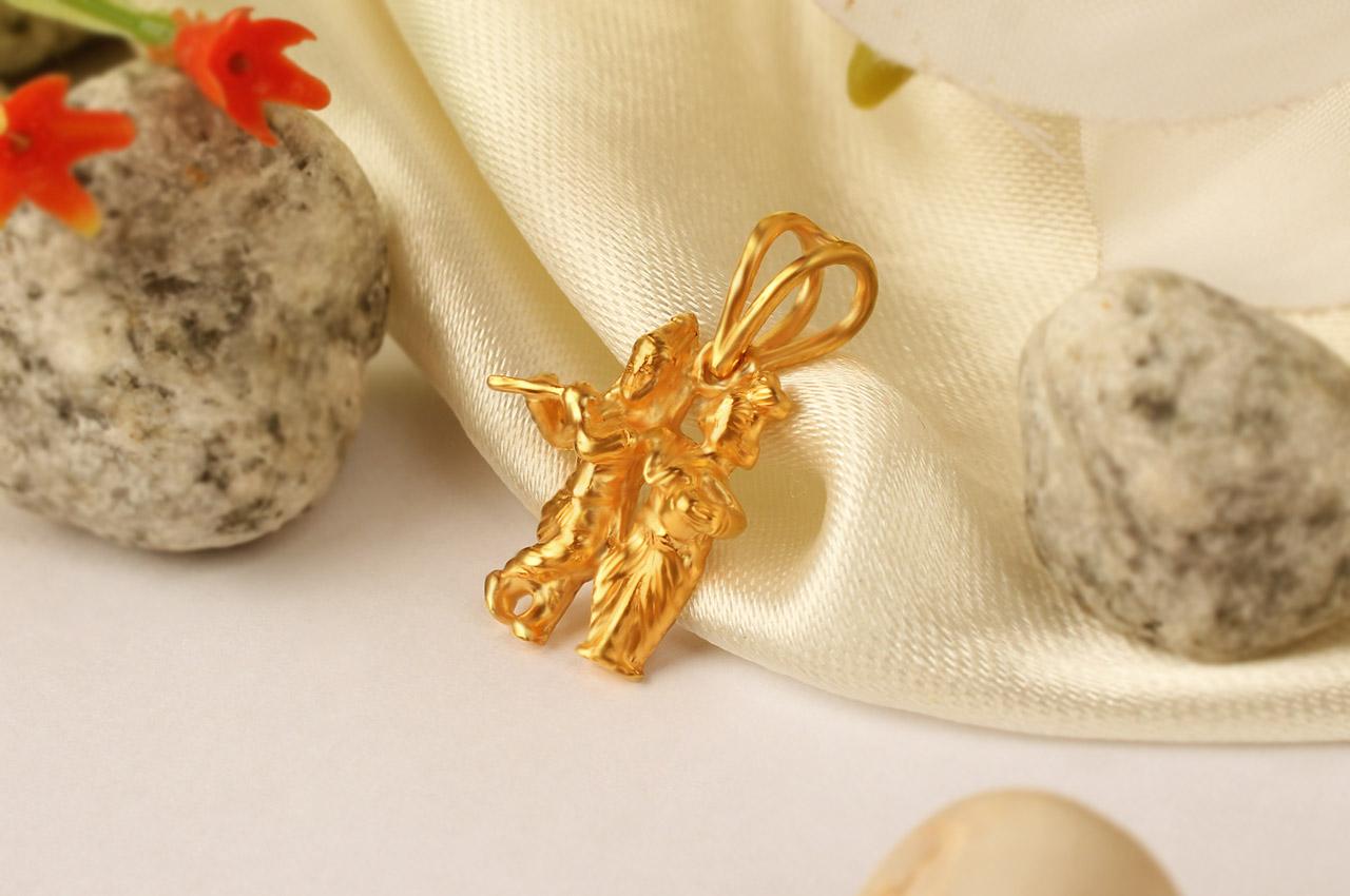 Radha Krishna Locket in pure Gold - Rudraksha Ratna