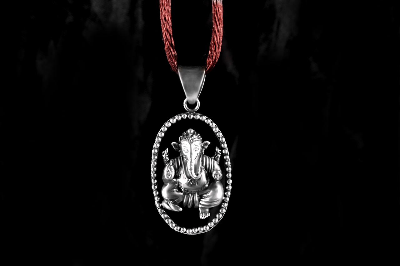 Ganesh Locket in Pure Silver - Design XLIII
