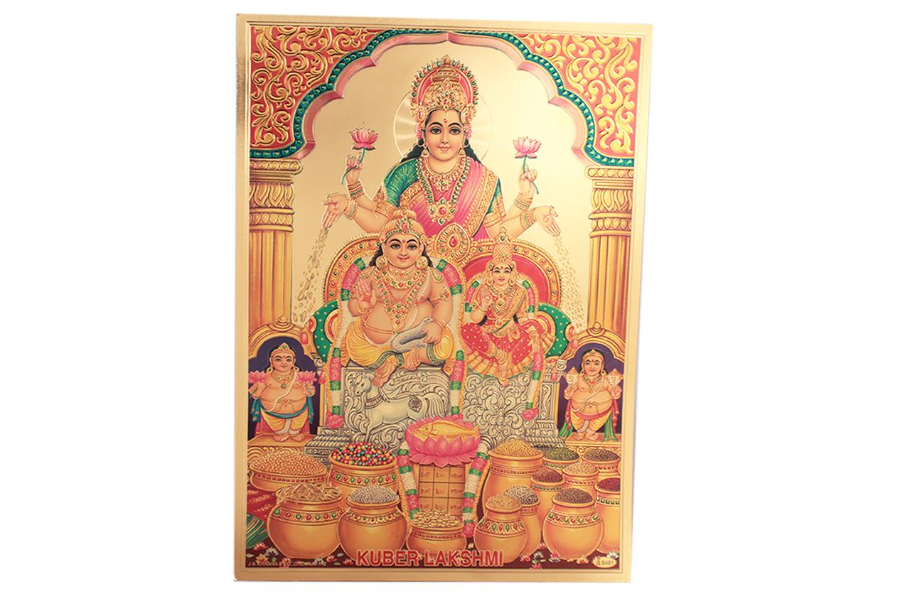 Kuber Lakshmi Photo In Golden Sheet