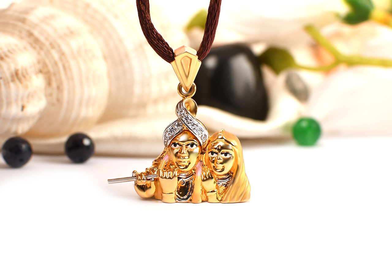 Radha krishna locket in pure gold 433 gms rudraksha ratna radha krishna locket in pure gold 433 gms aloadofball Image collections