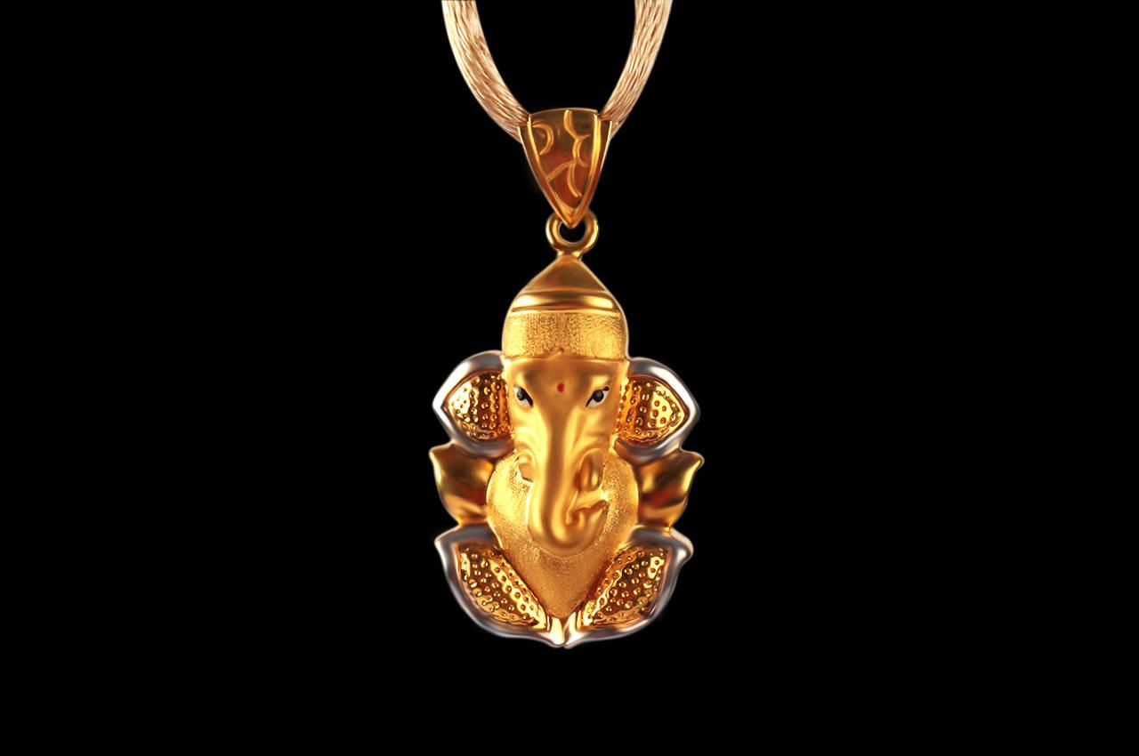 Ganesh pendant on leaf in gold 360 gms rudraksha ratna ganesh pendant on leaf in gold 360 gms aloadofball Image collections