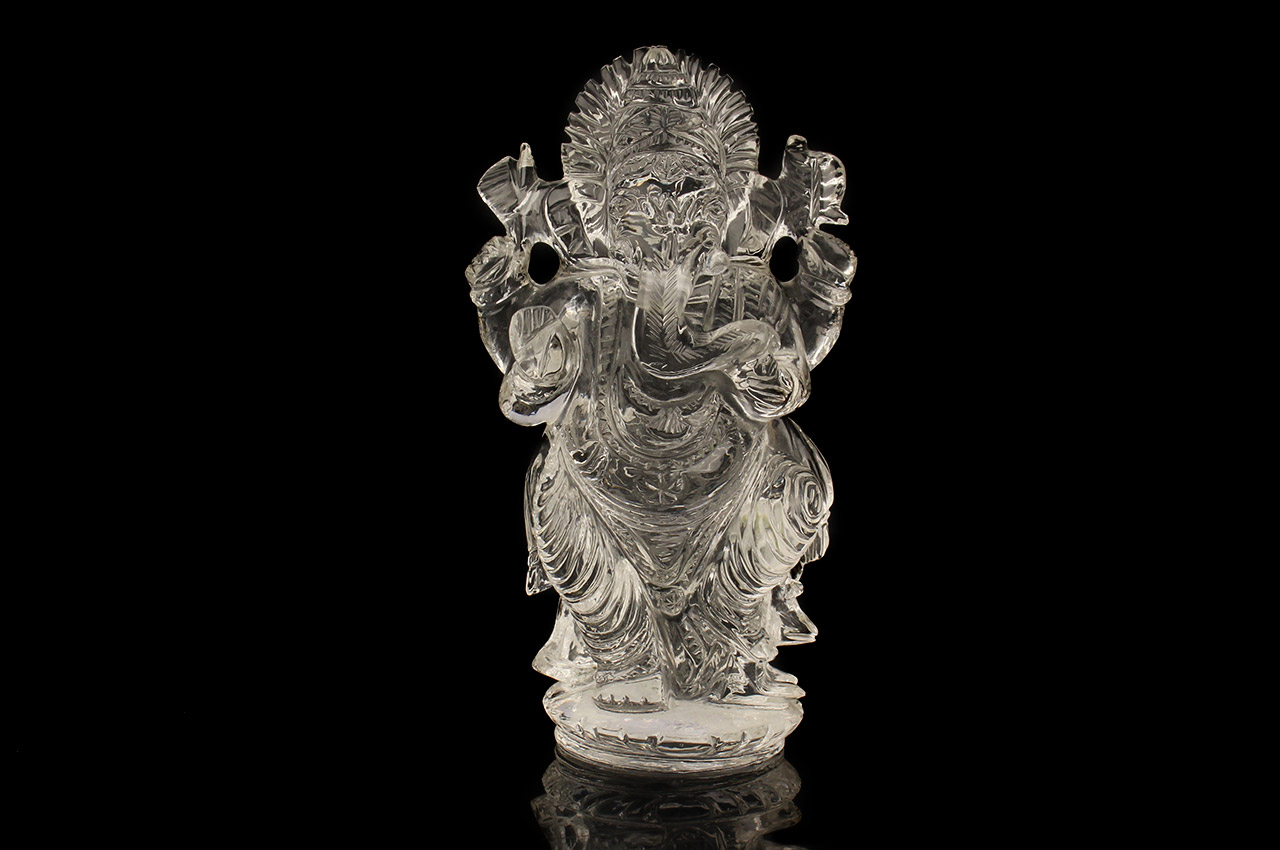 Ganesh Idol in pure quartz - 268 gms