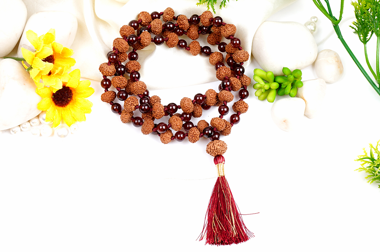 9 mukhi with Gomed mala
