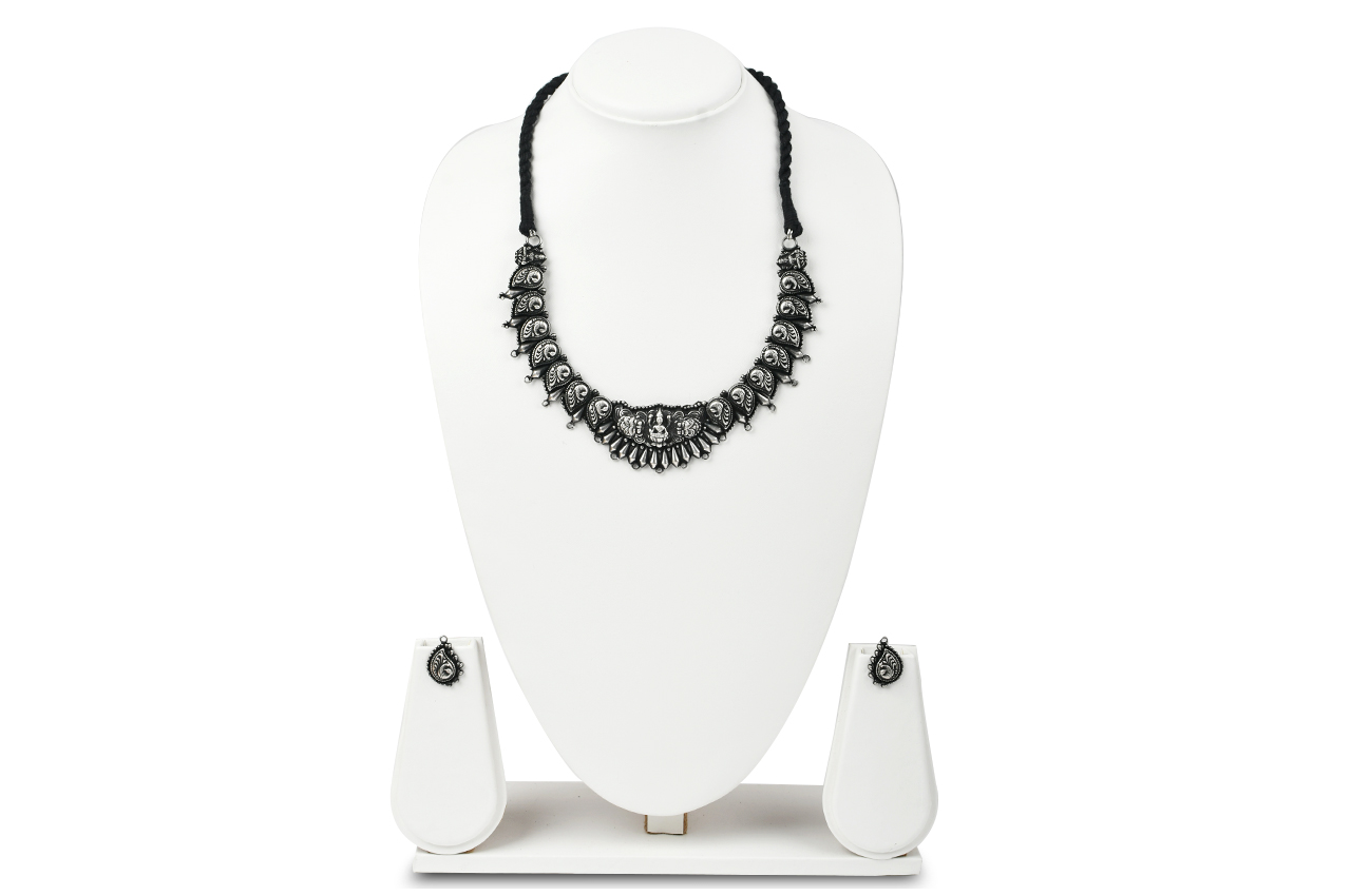 Designer Lakshmi Necklace and Earrings set in pure silver - I