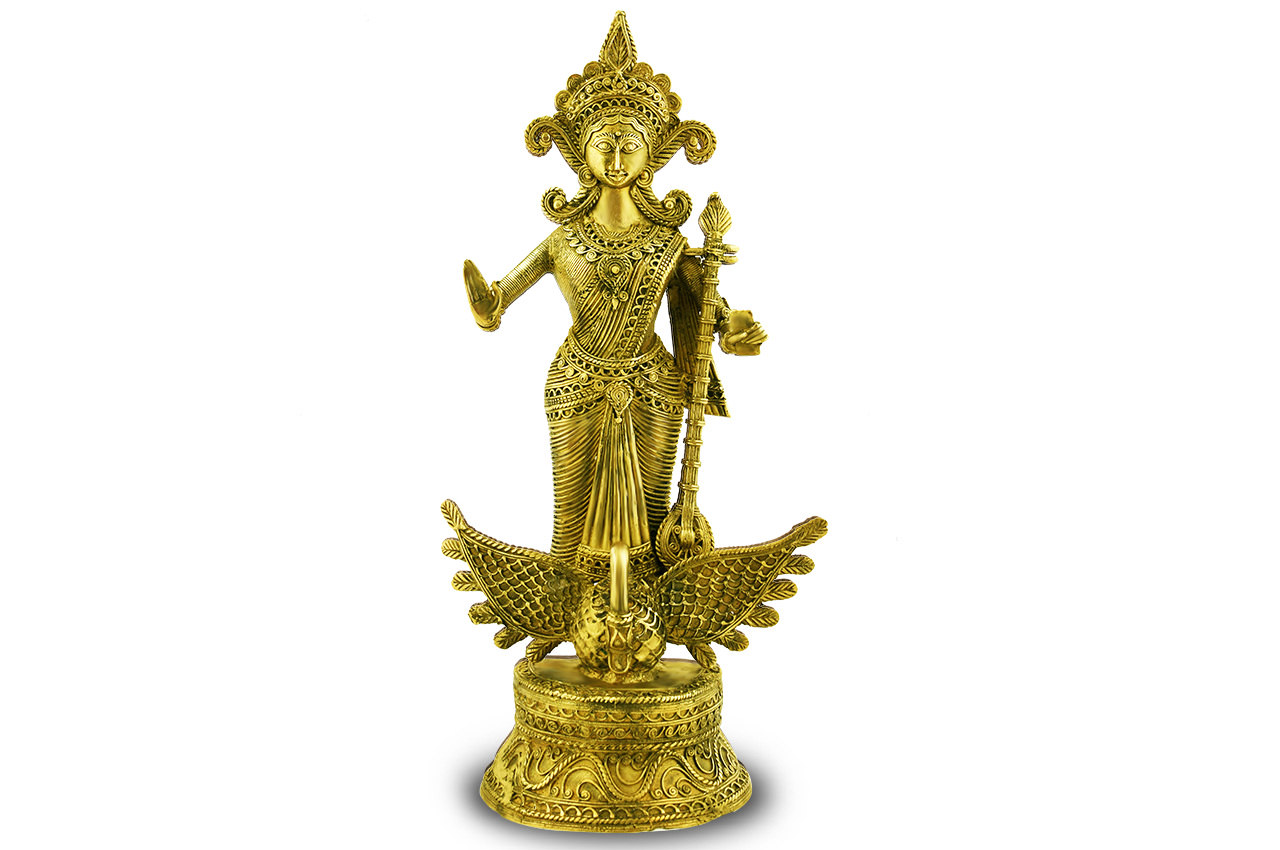 Maa Saraswati - Dhokra metal art