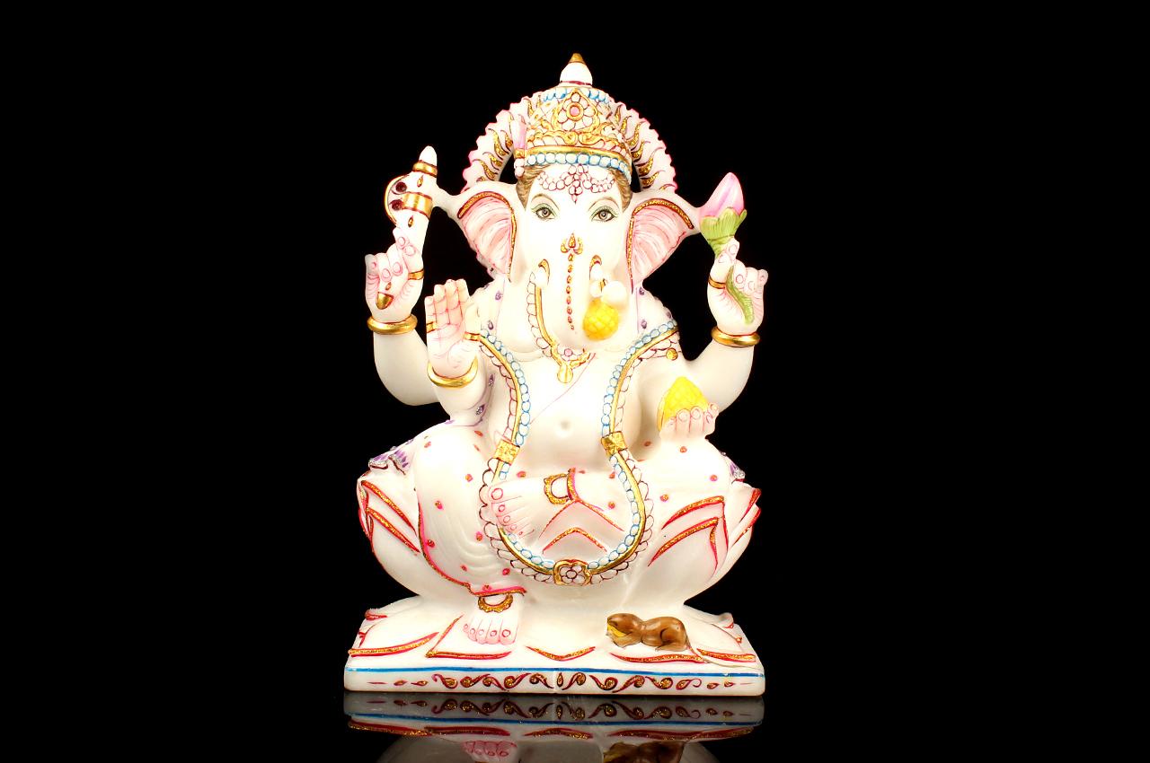 Lord Ganesha In White Marble Idol Rudraksha Ratna