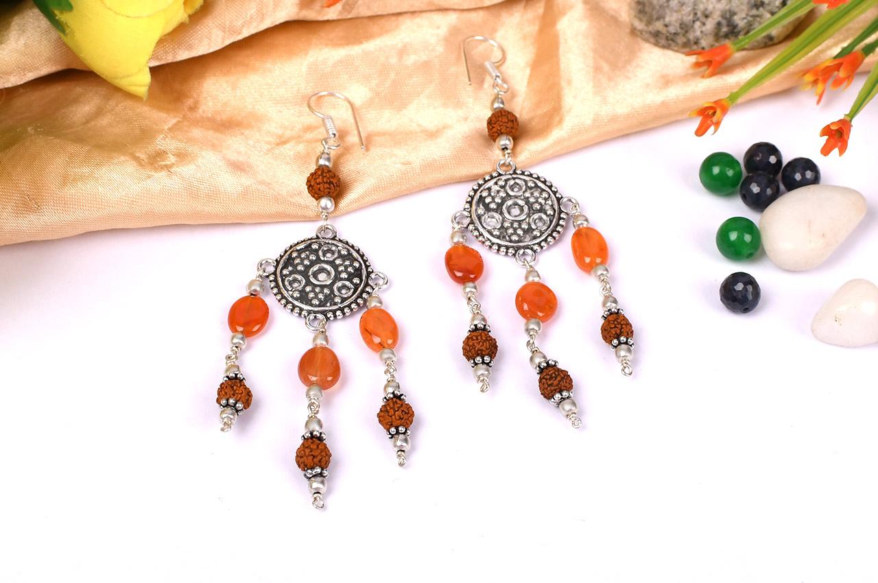 Rudraksha Carnelian Earring - II