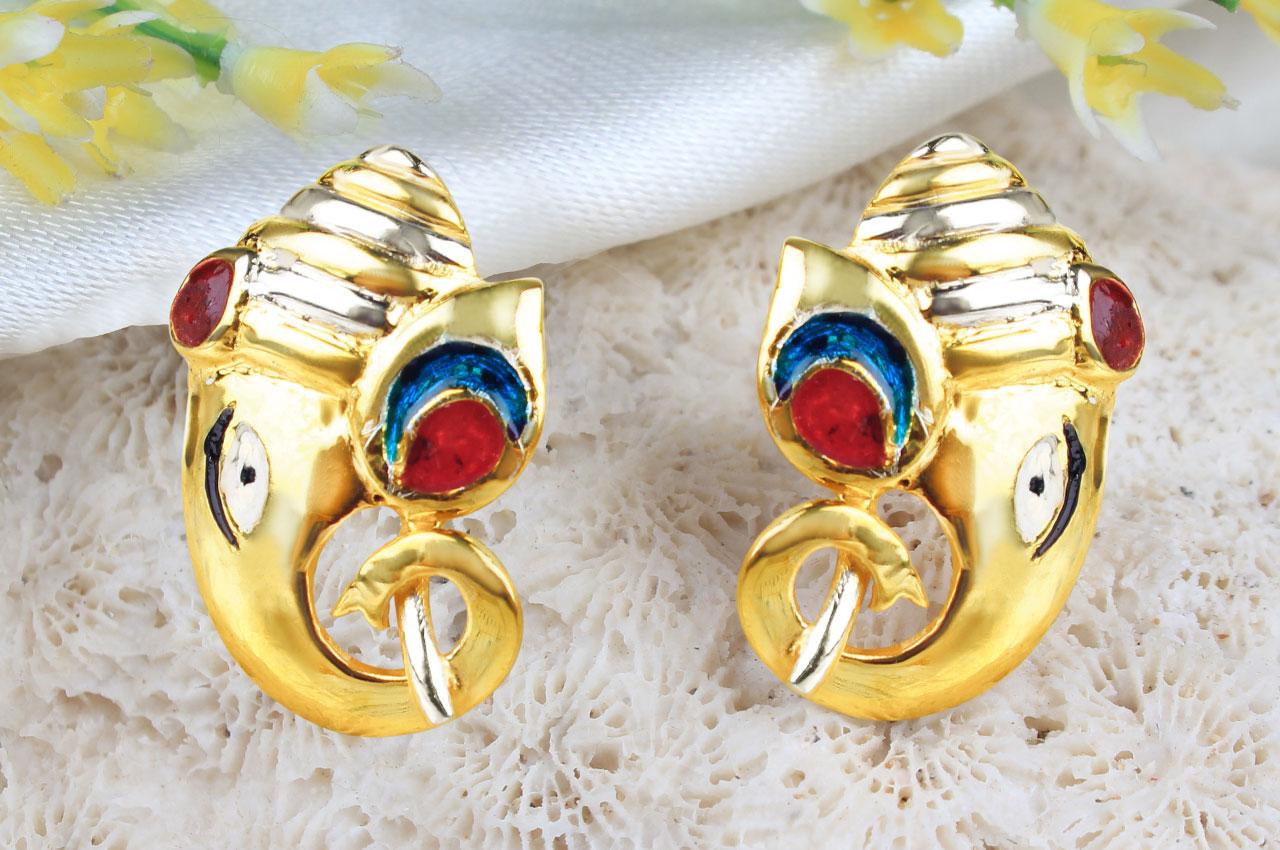 Gold Plated Ganesh Earrings - I