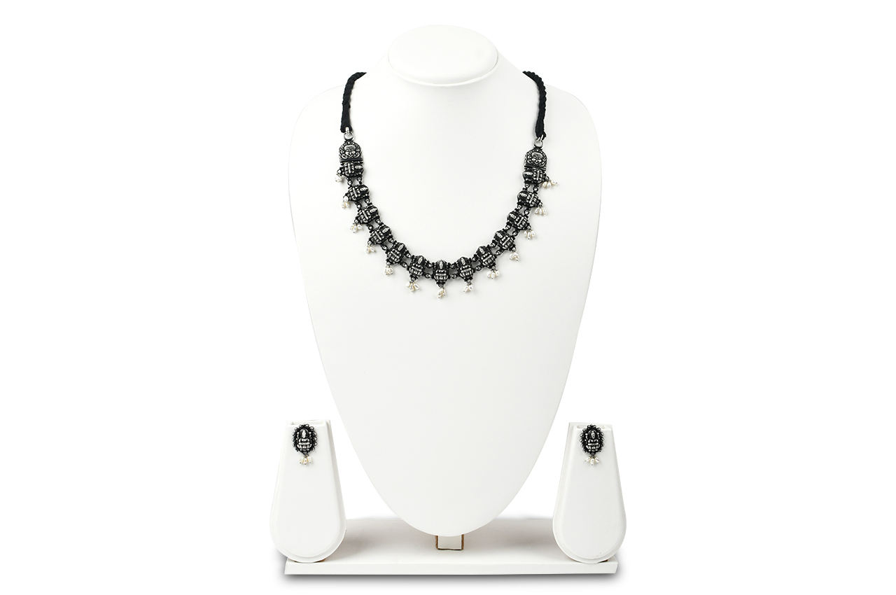Lakshmi Necklace and Earrings set in pure silver - II