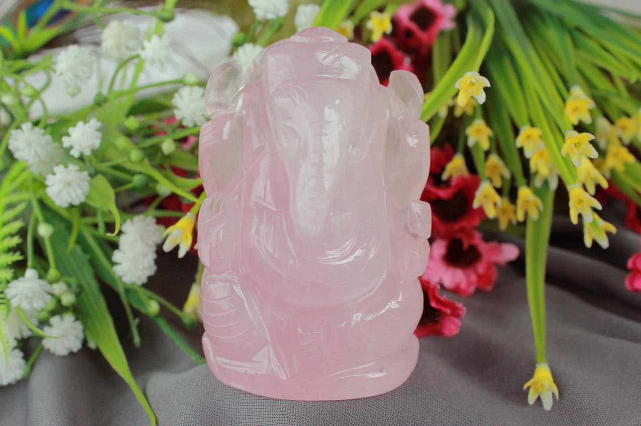 Rose Quartz Ganesha - 146 gms