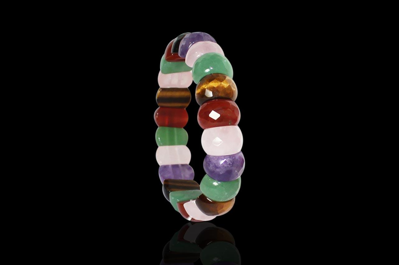 Navratna Gemstones Faceted Bracelet - Oval beads - I