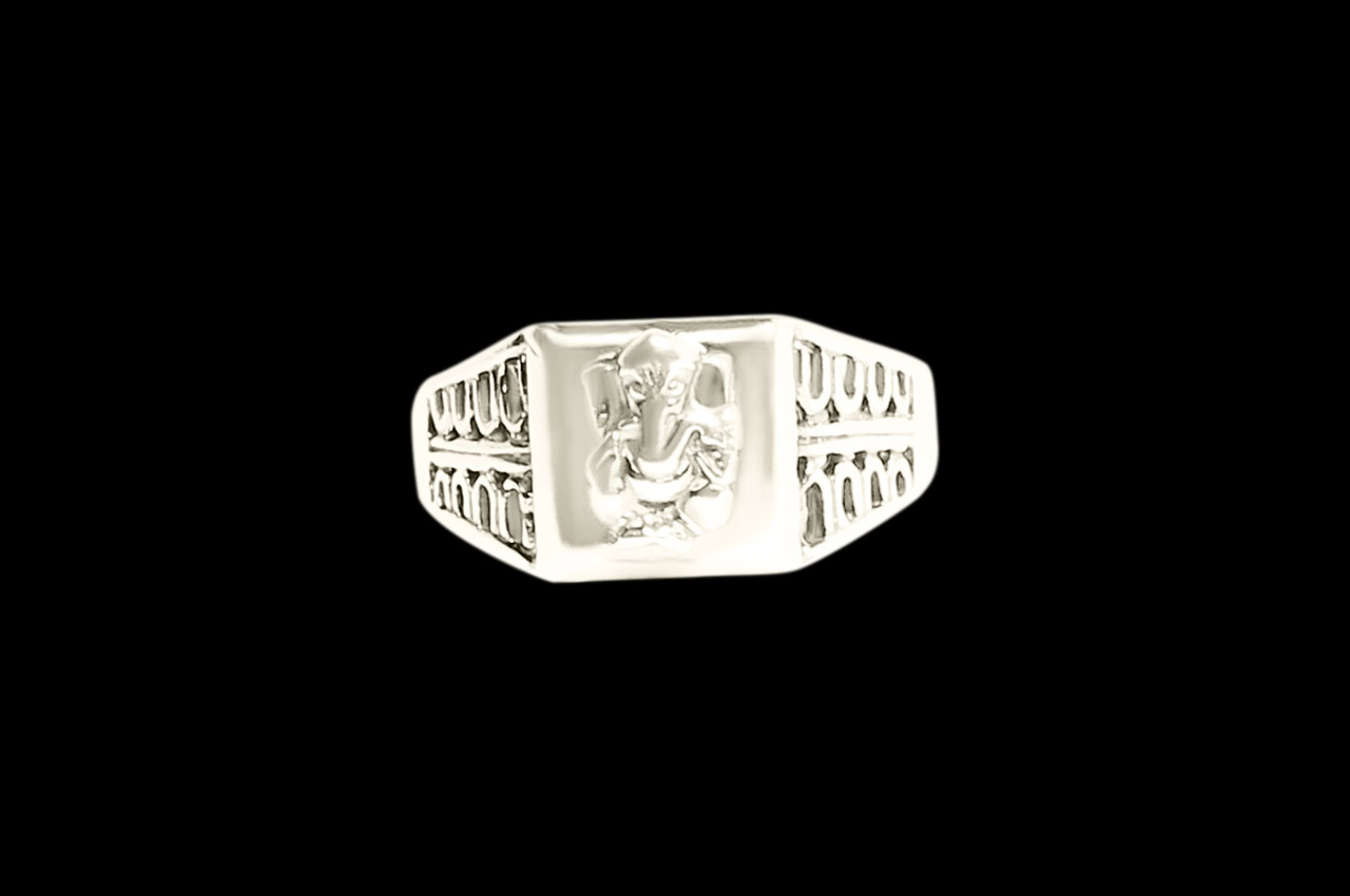 Ganesha Ring in Pure Silver - Design XII