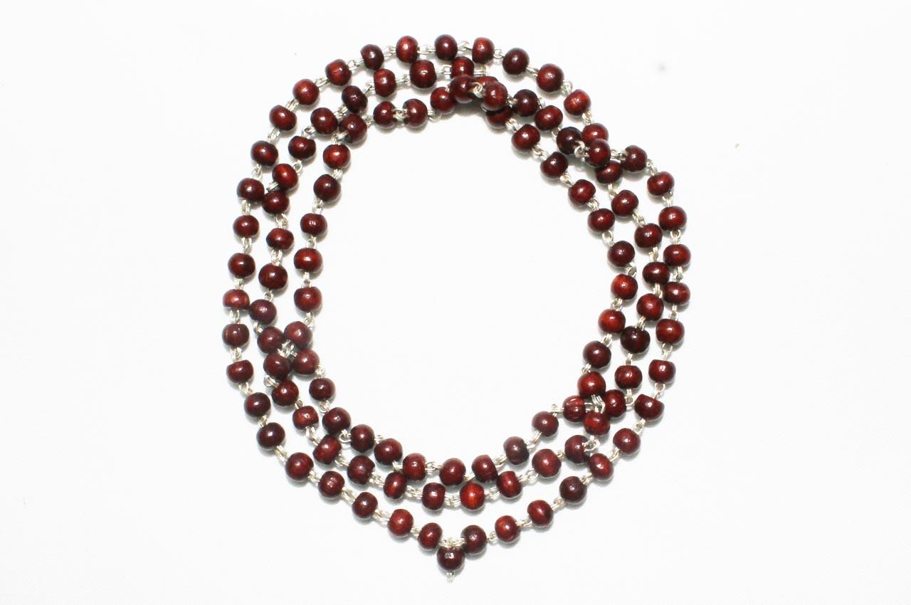 Red sandalwood mala in silver