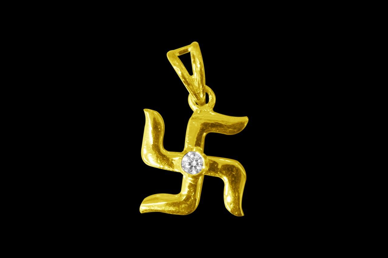 Swastik Locket - in Pure Gold