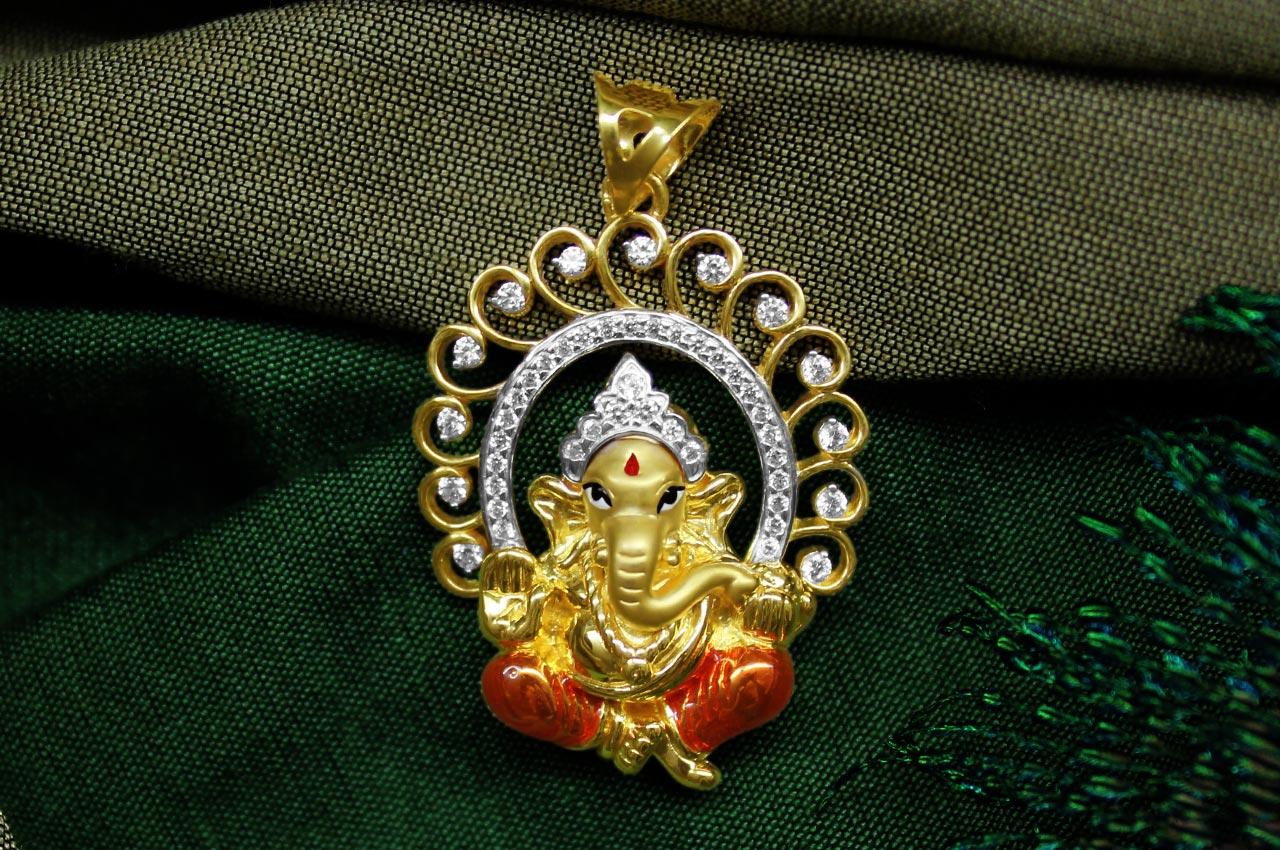 ganesh pendant in gold design cviii rudraksha ratna