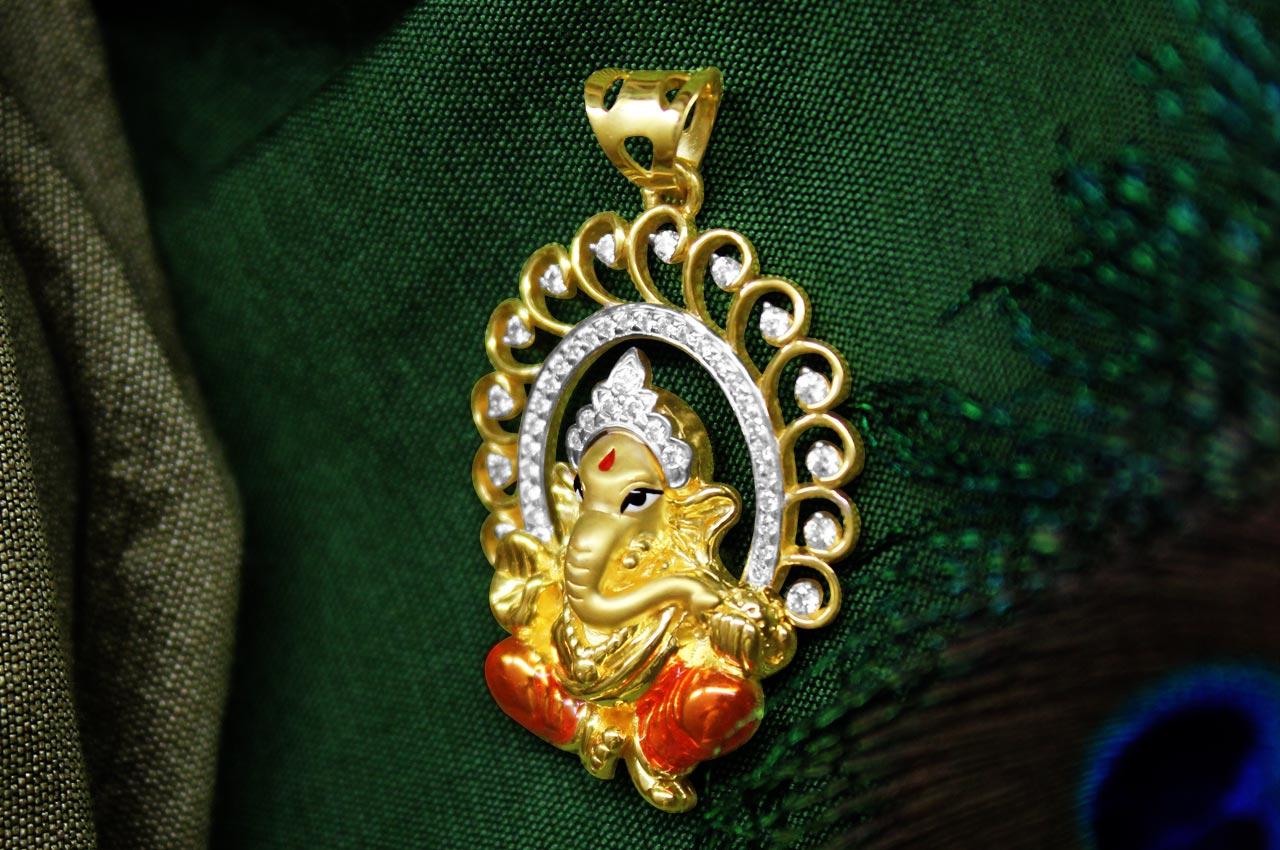 Ganesh pendant in gold design cviii rudraksha ratna ganesh pendant in gold design cviii aloadofball Gallery