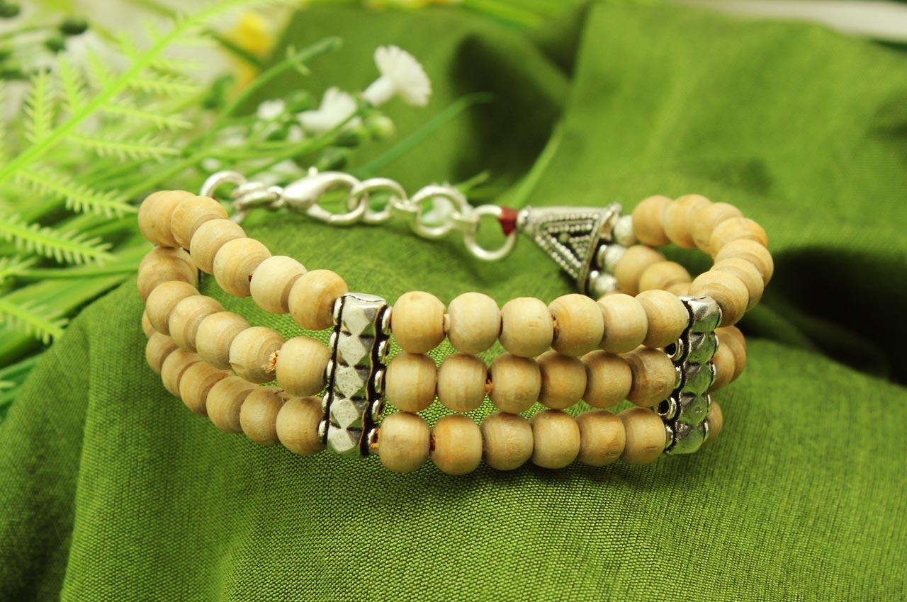 Tulsi Multi Beads Bracelet - Triple turn