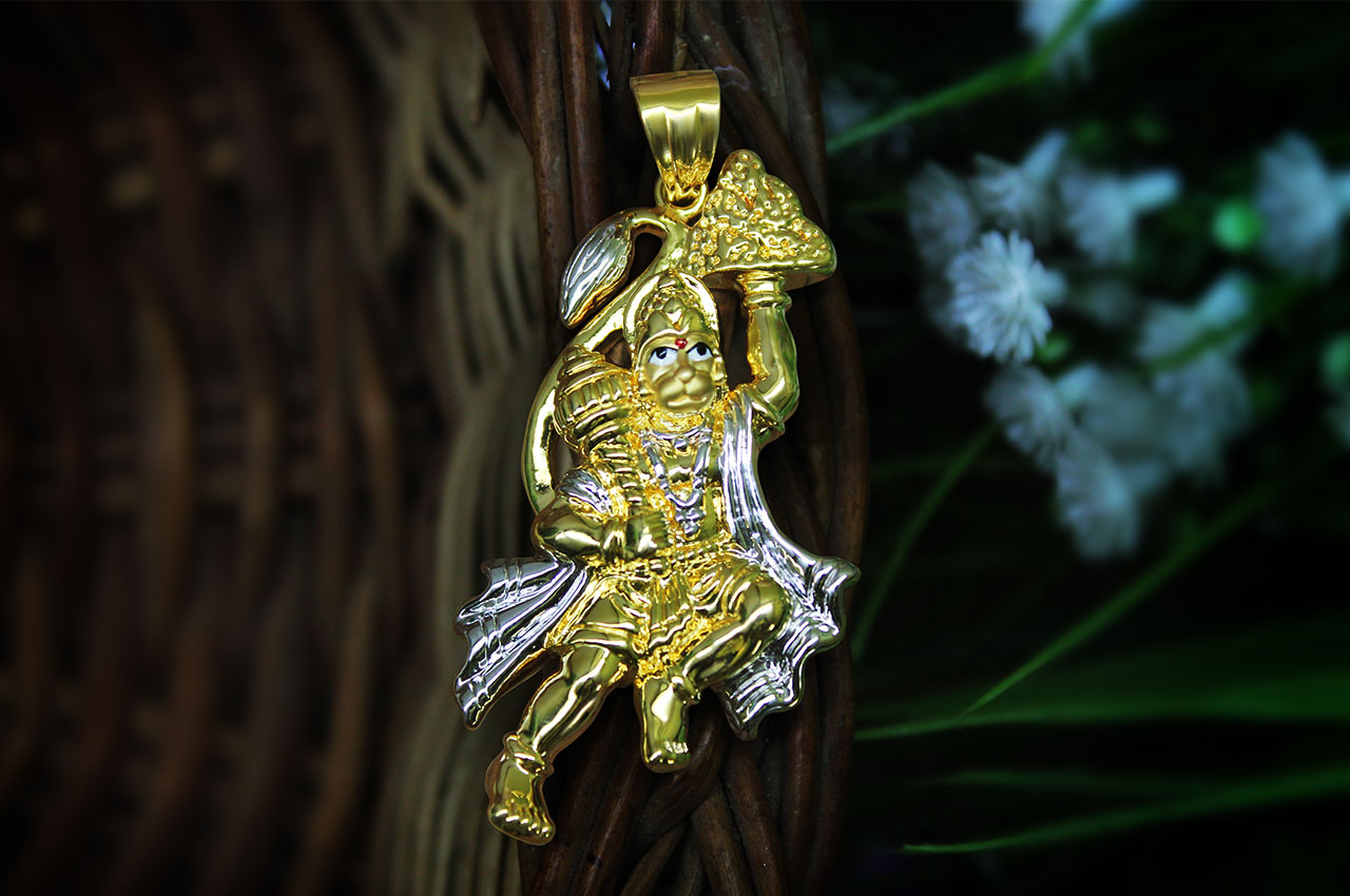 Hanuman locket in pure Gold