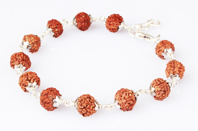 7 mukhi bracelet in silver caps