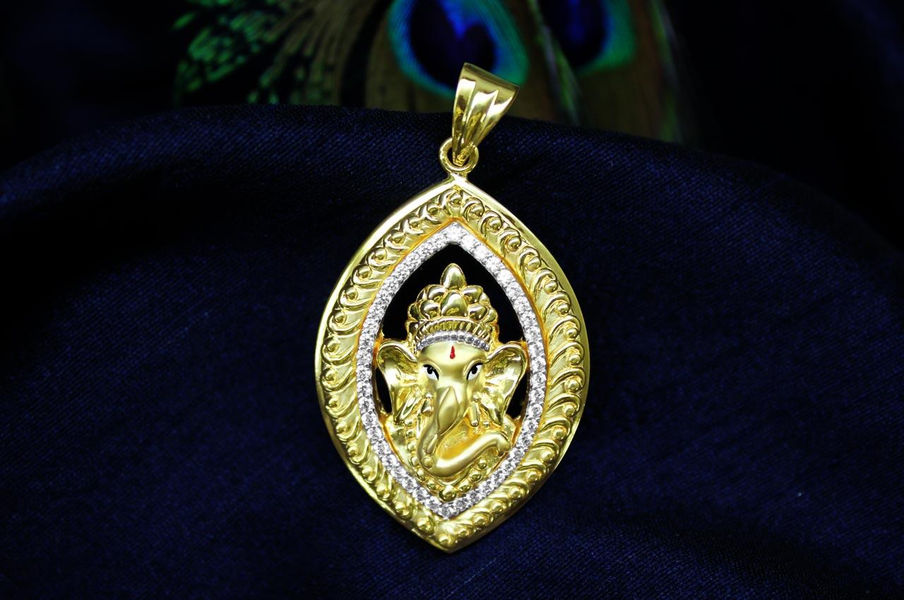 Ganesh pendant in gold design cix rudraksha ratna ganesh pendant in gold design cix aloadofball Image collections