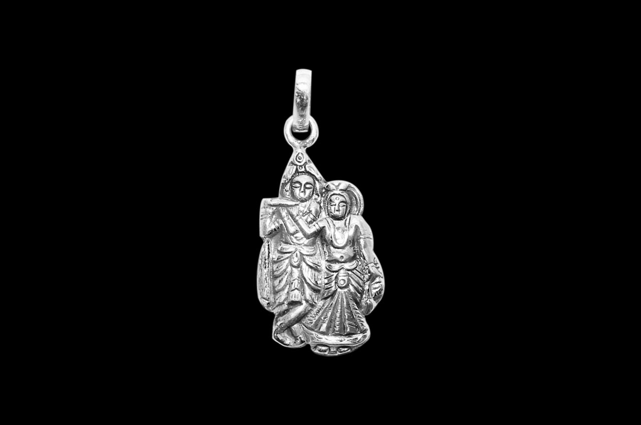 Radha Krishna Locket - in Pure Silver - Design I