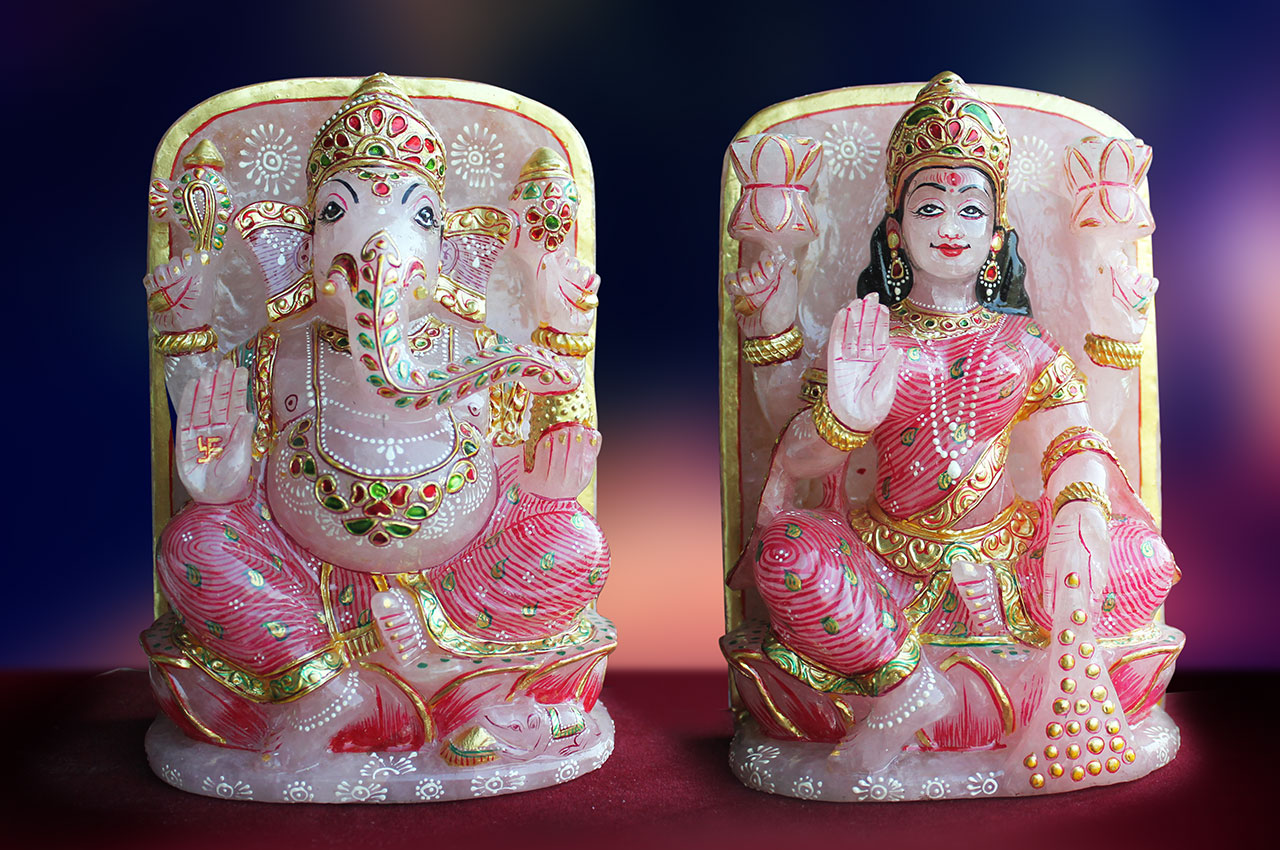 Ganesh Laxmi in Rose quartz