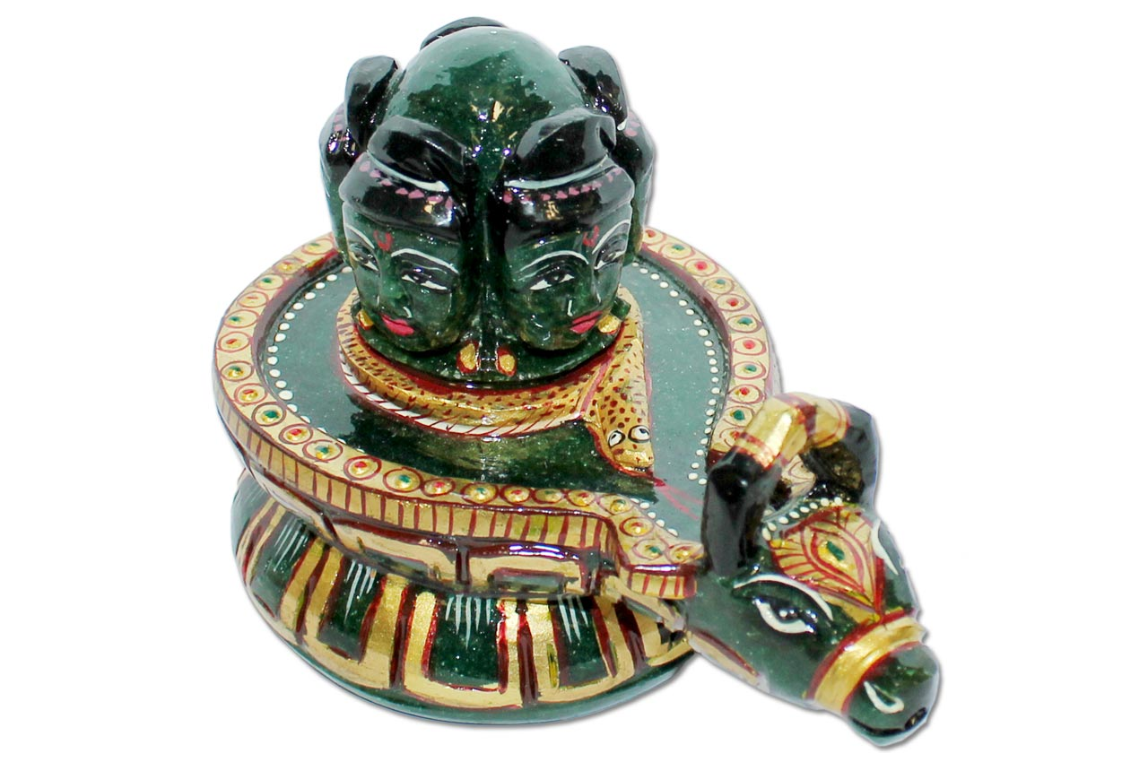 Blessing of Pashupatinath in Green   Jade - 575 gms