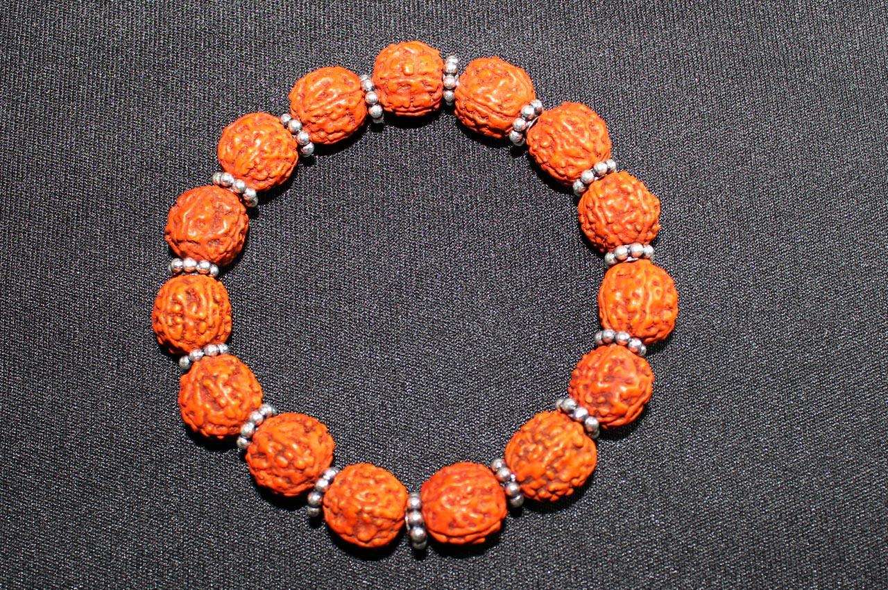 Punch Mukhi Rudraksha Bracelet - Chikna Bead - V