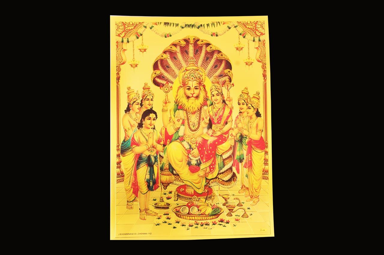 Narsimha Laxmi Photo in Golden Sheet - Large