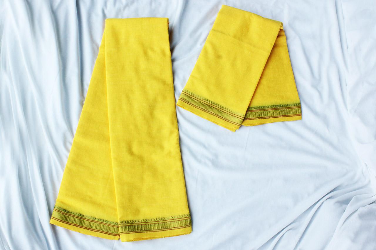 Puja Dhoti with Shawl - Yellow
