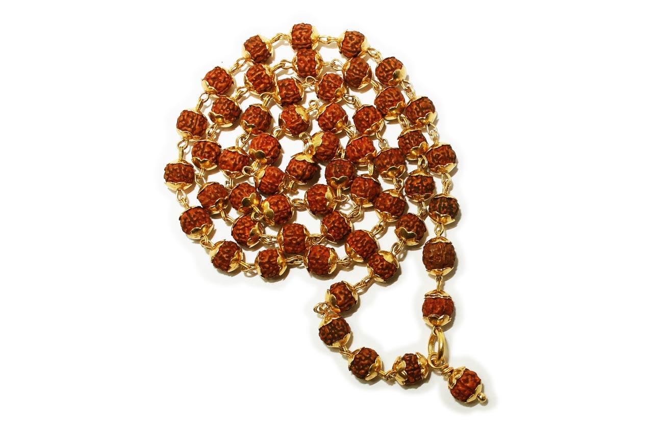 7mm chikna bead mala in gold caps