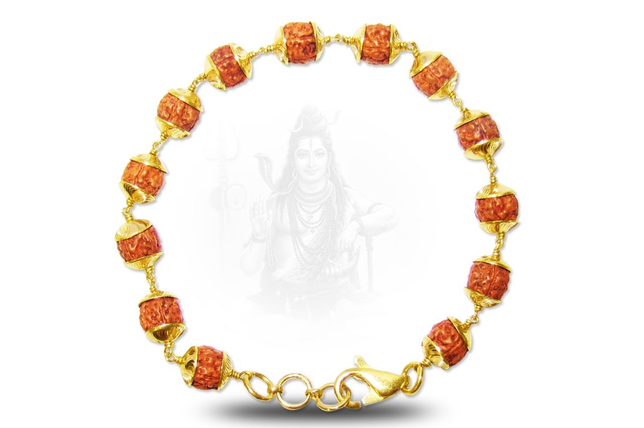 rudraksha bracelet in gold design iii rudraksha ratna