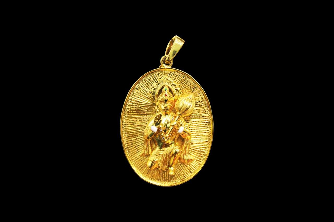 Titawala ganesh and hanuman pendant in 22ct pure gold rudraksha ratna titawala ganesh and hanuman pendant in 22ct pure gold aloadofball Images