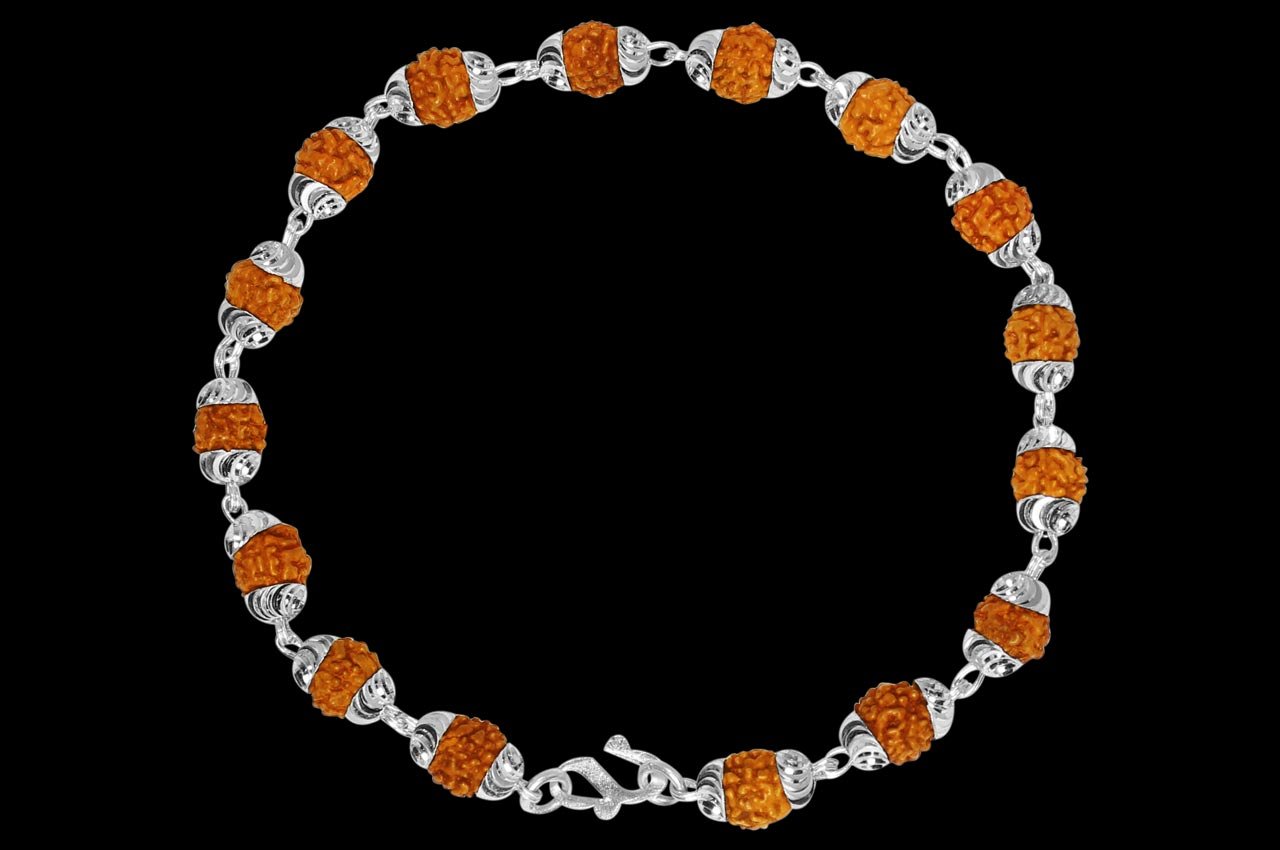 6332631693d Rudraksha Bracelet in silver with self design caps - Rudraksha Ratna