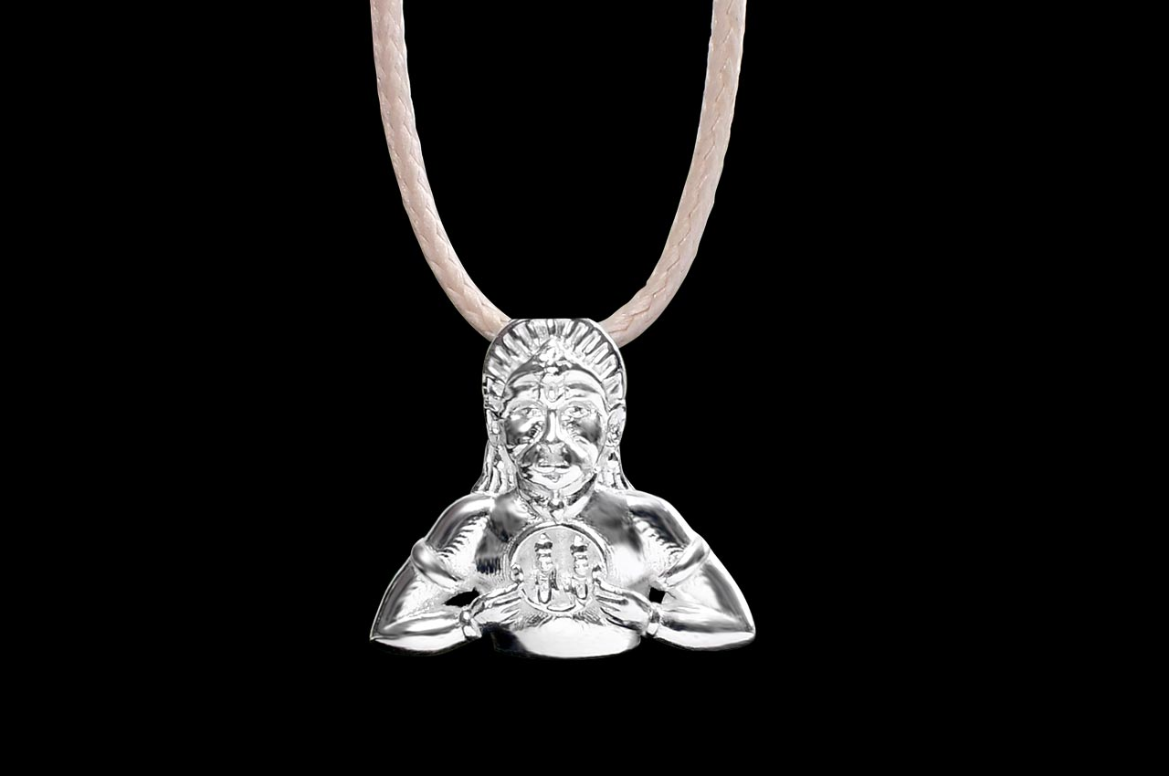 Hanuman locket in pure silver - Design VIII