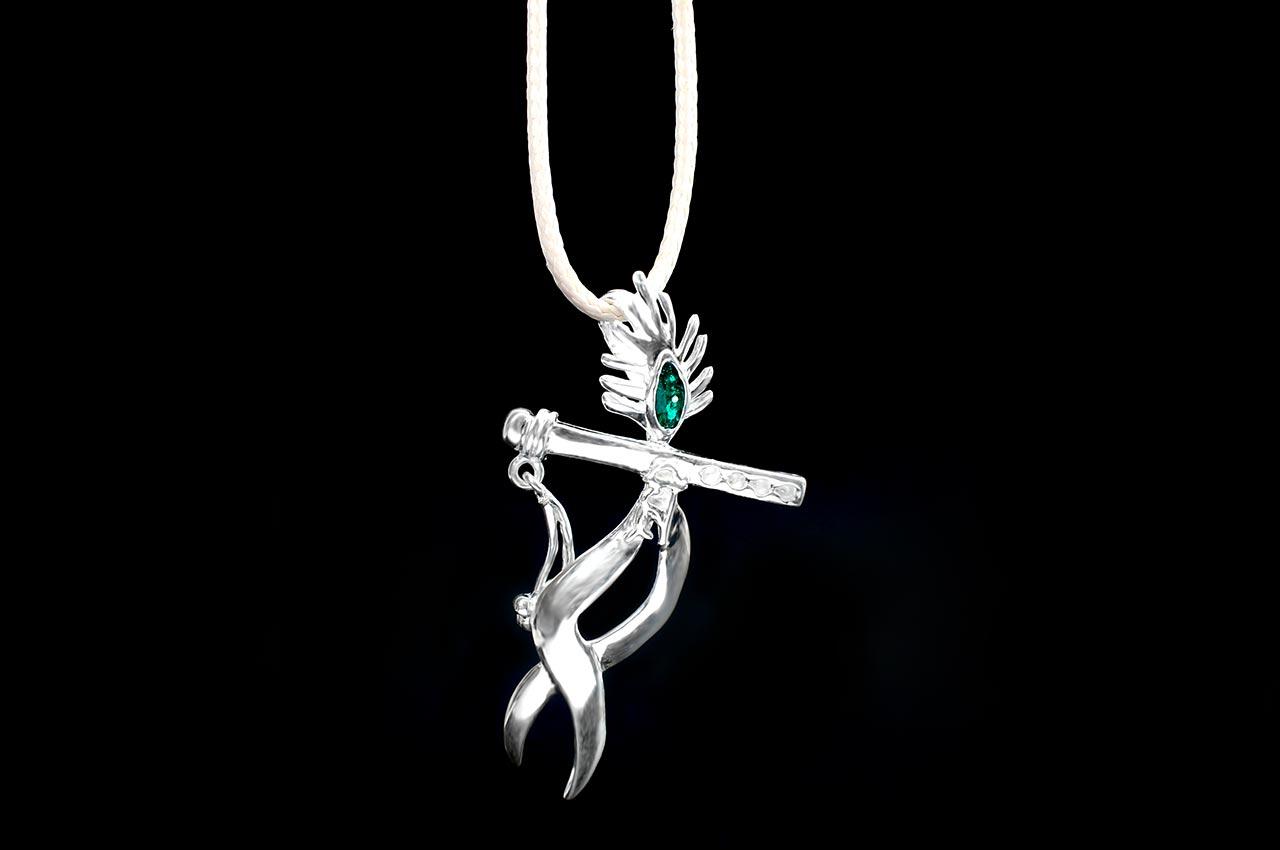 Krishna Locket in pure silver - V