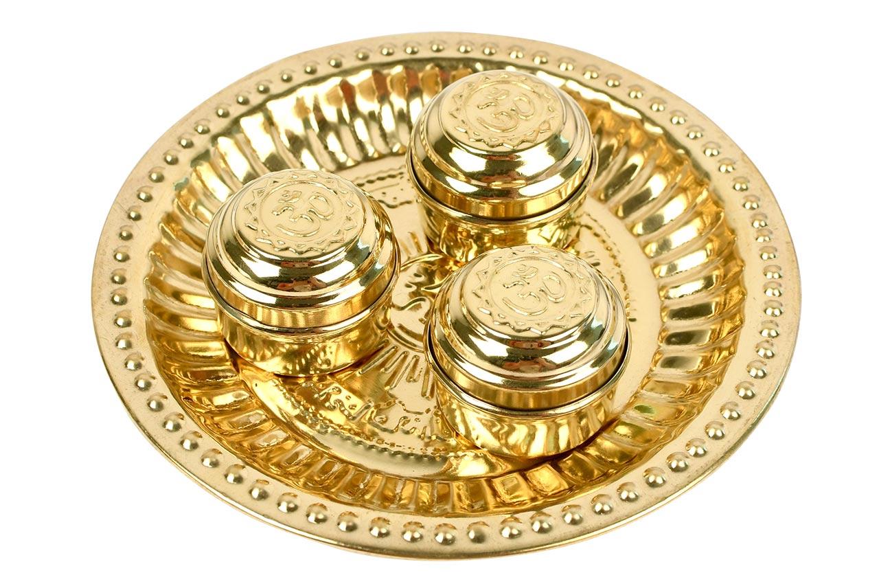 Haldi Kumkum containers in brass - I