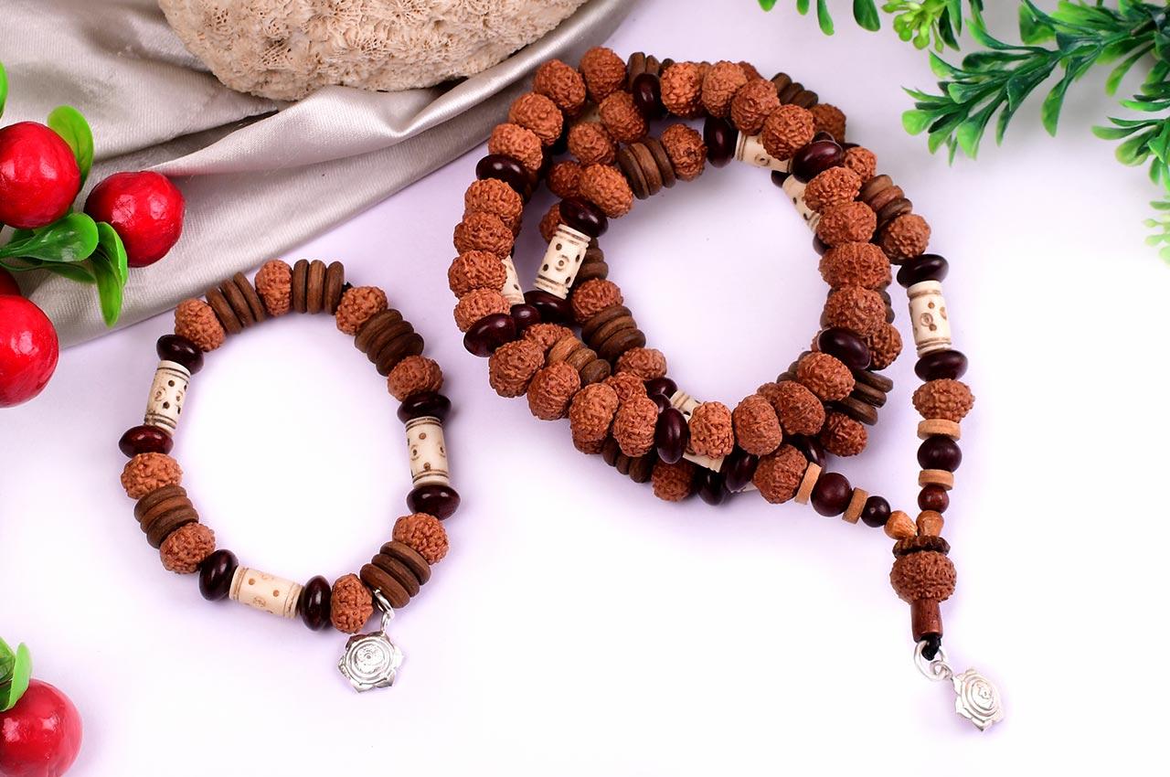 10 mukhi Krishna mala and bracelet set