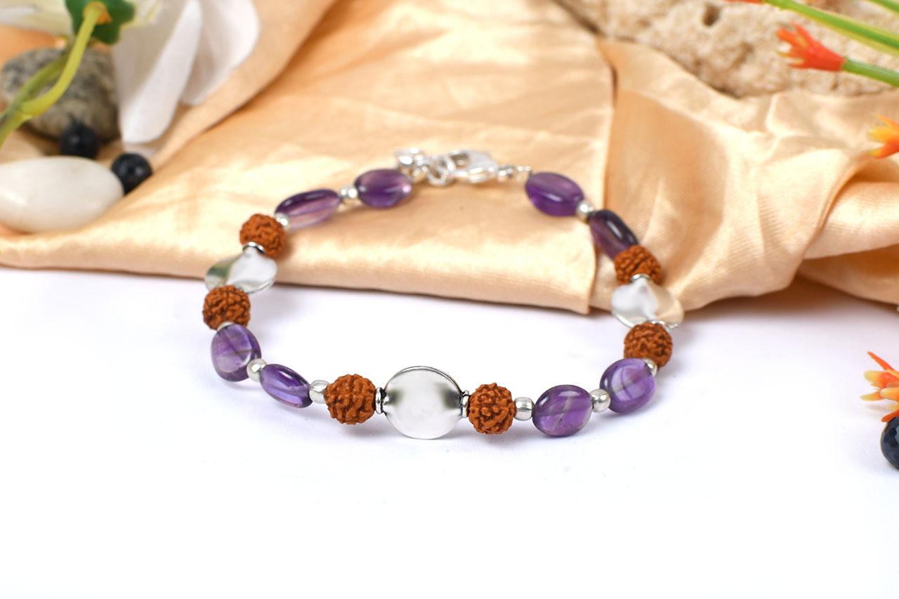 Amethyst and Rudraksha Bracelet
