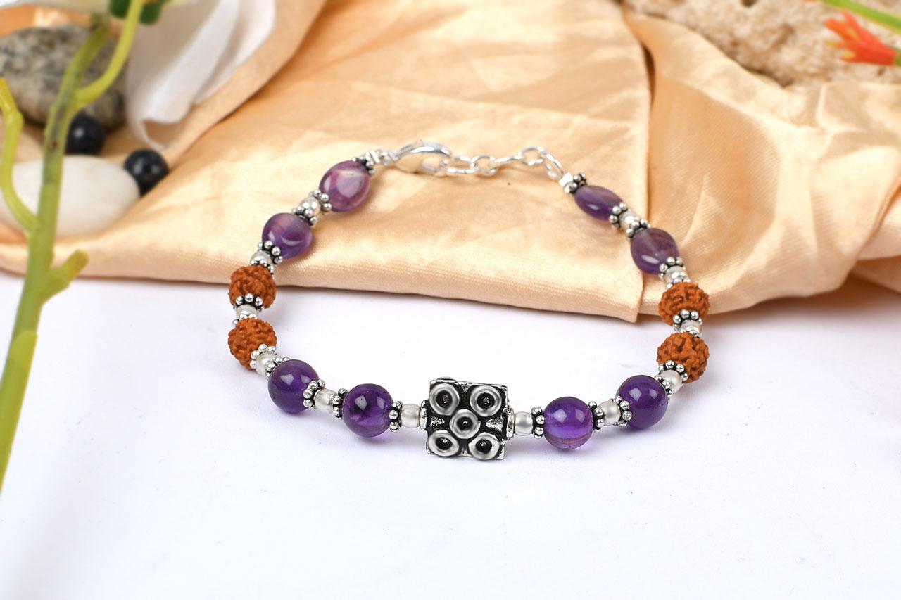 Amethyst and Rudraksha Bracelet - I