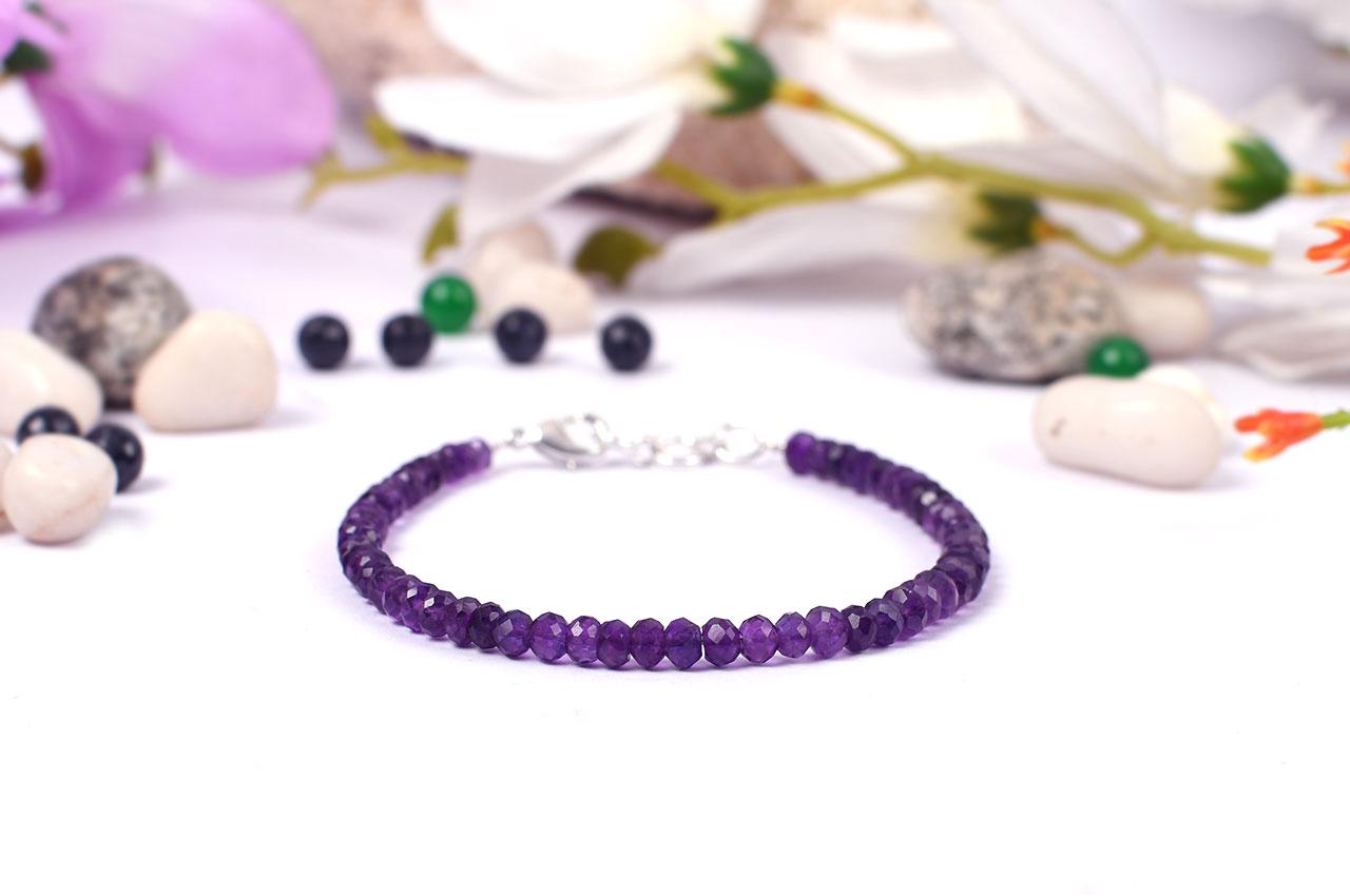 Amethyst faceted bead Bracelet