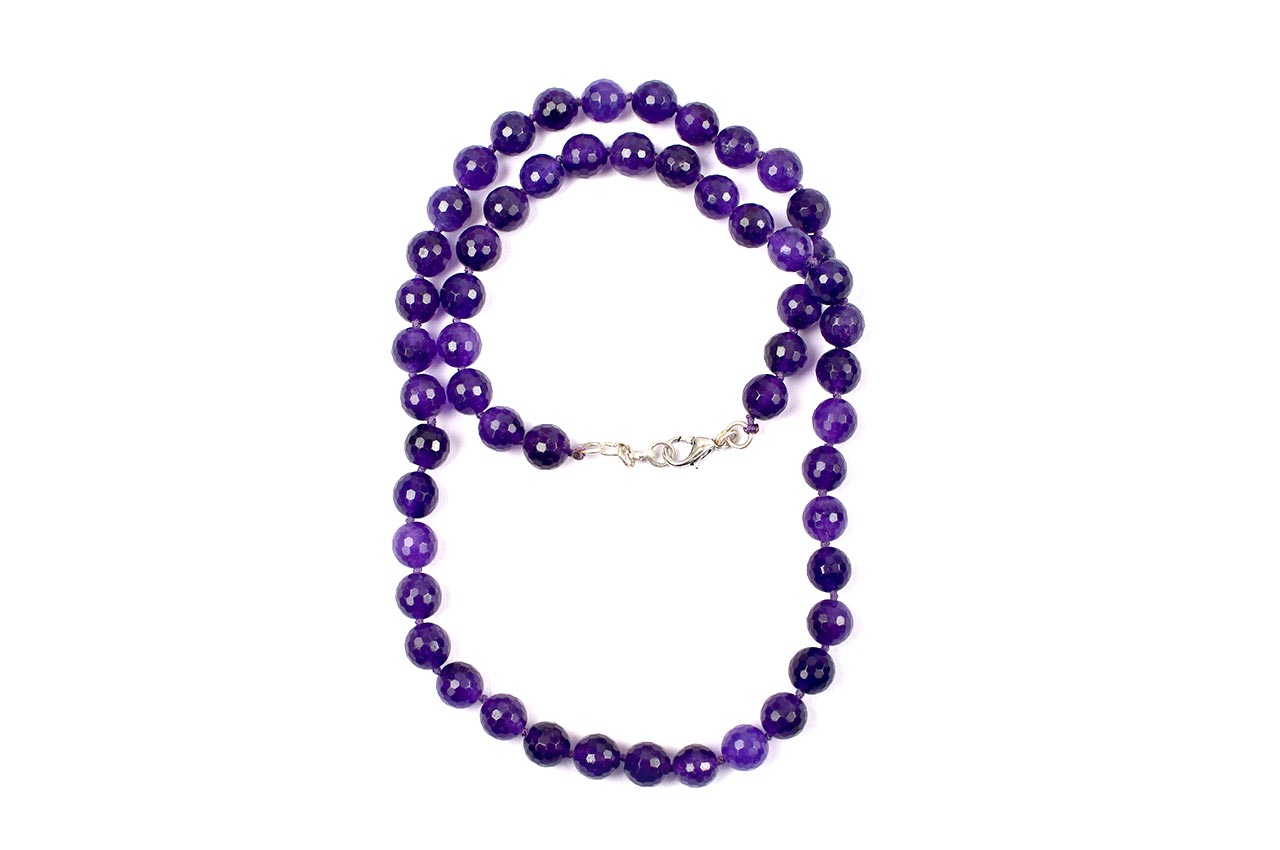 Amethyst necklace faceted - 10mm